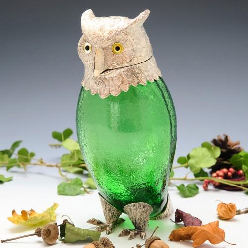 Novelty Owl Shaped Silver Plate Claret Jug