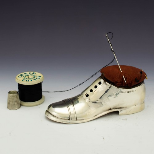 Large Novelty Shoe Shaped Sterling Silver Pin Cushion Chester 1910