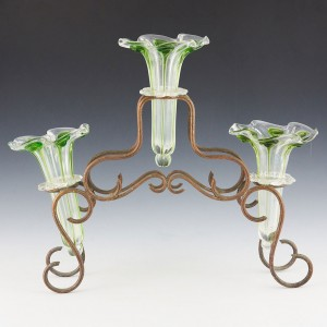 Peacock Trail Glass Epergne c1910