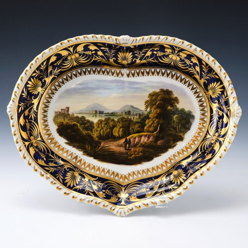 Derby Porcelain Landscape Heart Shaped Dish 1830-35