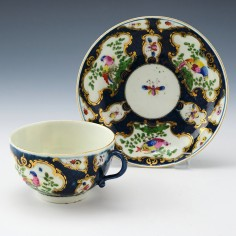 First Period Worcester Porcelain Blue Scale Teacup and Saucer c1770 - Ex Rous Lench