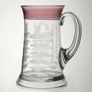 Victorian Glass Pint Tankard With Trailing c1875