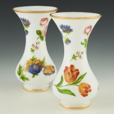 Pair Richardson Opaline Vases Decorated With Scattered Flowers c1860