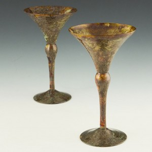 Pair of Karl Weidmann WMF Agate Ware Cocktail Glasses c1935