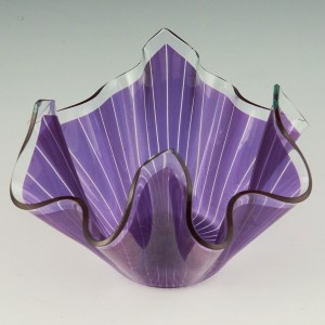 Chance Brothers Amethyst Slumped Glass Hankie Vase c1960
