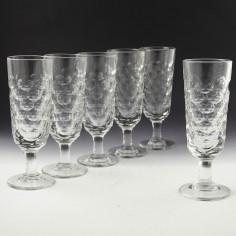 Pair Victorian Sunderland Lens Cut Ale Glasses c1860
