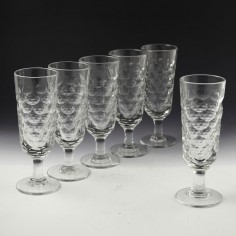 Pair Sunderland Lens Cut Ale Glasses c1860