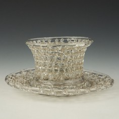Bristol Lead Glass Traforato Basket and Stand c1780