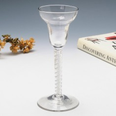 Very Rare Double Series Mercury Twist Pan top Wine Glass c1750
