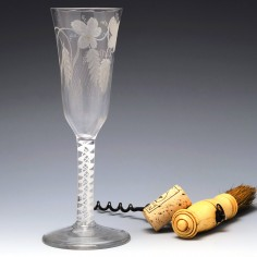 Tall Engraved Opaque Twist Stem Ale Glass c1760
