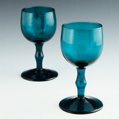 Pair Hollow Stem Peacock Blue Wine Glasses c1820