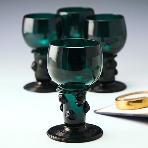 Four Roemer Style Wine Glasses c1900