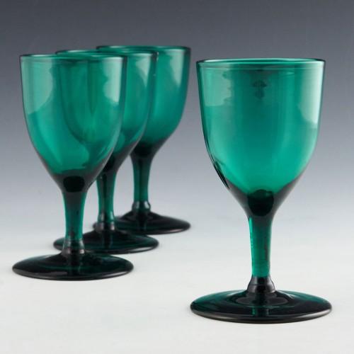 Four Bristol Green Wine Glasses c1900
