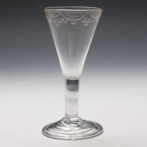 A Fine Engraved Gin Glass c1750