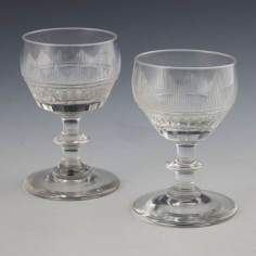 Pair of Georgian Port Wine Glasses c1830