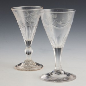 Two Engraved 18th Century Gin Glasses c1780