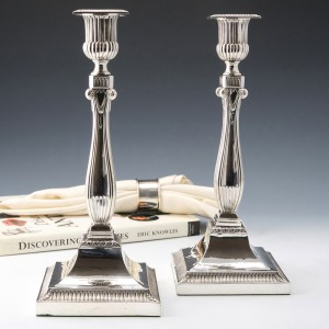 Pair of Victorian Sterling Silver Candlesticks London 1894