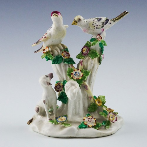 Bow Porcelain Figural Group Birds In Branches 1762-65