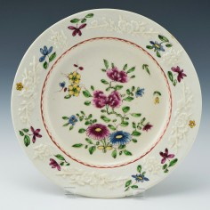 Bow Porcelain Plate with Prunus Moulding c1755