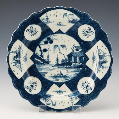 First Period Worcester Fan Panelled Landscape Dessert Plate c1770-80