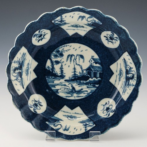 Worcester Porcelain Fan Panelled Landscape Dessert Plate c1770-80