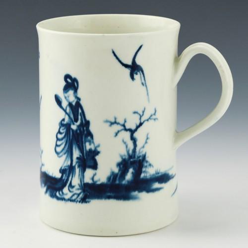 "First Period Worcester Porcelain ""Walk in the Garden"" Pattern Mug c1765"