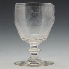 Diamond Point Engraved Victorian Rummer c1860