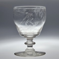 Diamond Point Engraved Victorian Rummer c1860