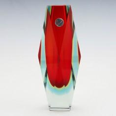 A Madruzzato Somerso Three Colour Facet Cut Sommerso Vase c1960
