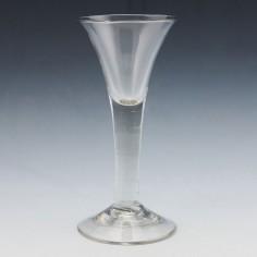 A Georgian Plain Stem Wine Glass c1760