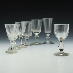 Selection of Seven 19th Century Gin and Port Glasses