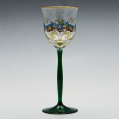 Theresienthal Enamelled Floral Wine Glass c 1905