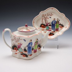 Newhall Boy and the Butterfly Teapot and Stand c1800