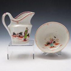 Newhall Boy and the Butterfly Milk Jug and Sucrier c1800