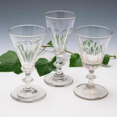 Three Victorian Petal Cut Gin Glasses 1860-80