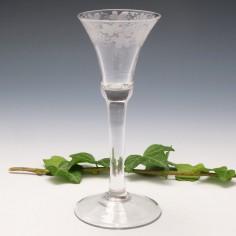 Engraved Georgian Plain Stem Wine Glass c1750
