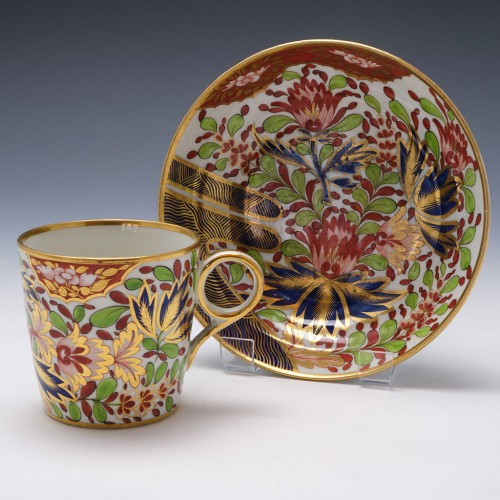 Chamberlains Worcester Coffee Can and Saucer c1810