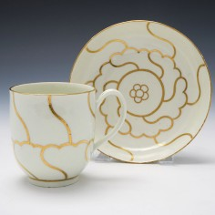 James Giles Decorated Worcester Porcelain Coffee Cup and Saucer c1775