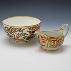 Chamberlains Worcester Bowl and Milk Jug c1810