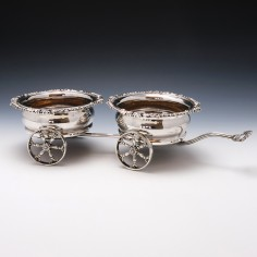 Two Coaster Sterling Silver Decanter Wagon 1973