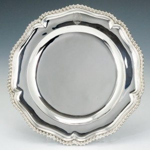 Queen Anne Silver Dinner Plate with Clan MacPherson Crest London 1707