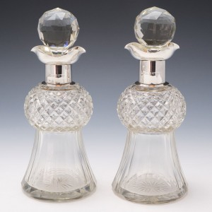 Pair of Edwardian Thistle Shaped Decanters with Silver Mounts 1905