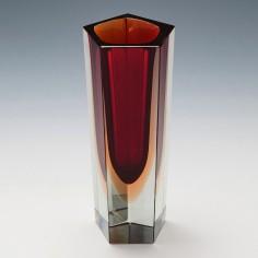 A Pentagonal Murano Sommerso Vase c1970s