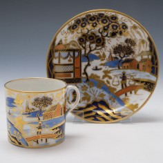 New Hall Pattern 1163 Coffee Can and Saucer  c1820