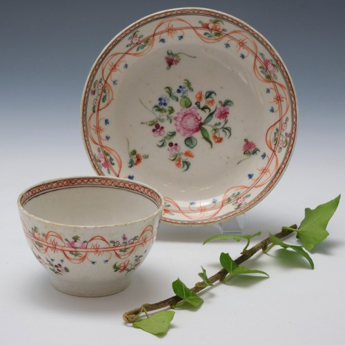 New Hall Porcelain Pattern 467 Teabowl and Saucer c1795