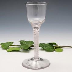 Georgian Opaque Twist Wine Glass c1760 Restored
