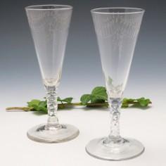Pair of Facet Cut Stem Ale Glasses c1780