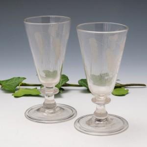 Pair Regency Engraved Ale Glasses c1820