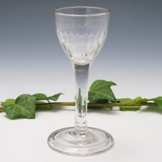Flute Moulded Cordial Glass with Folded Foot c1750