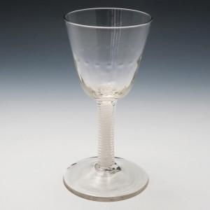 Georgian Double Opaque Twist Wine Glass c1760